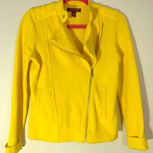 RALPH LAUREN motto style yellow sweater jacket